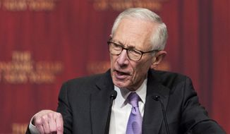 FILE - In this Oct. 17, 2016 file photo, Stanley Fischer, vice chairman of the Federal Reserve board of governors, speaks to the Economic Club of New York. Fischer will resign in Oct. 2017 for personal reasons, leaving a fourth vacancy on the seven-member Fed governing board. Fischer, 73, has been a member of the Board since May 2014.   (AP Photo/Mark Lennihan, File)