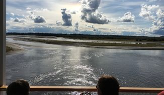 A view of where the Chena River meets up with the Tanana River near Fairbanks, Alaska, as seen from the deck of the Riverboat Discovery.  (Eric Althoff/The Washington Times)