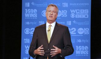 New York Mayor Bill de Blasio participates in the 2nd mayoral debate at the CUNY Graduate Center on Wednesday, Sept. 6, 2017. (Jefferson Siegel/New York Daily News/POOL)