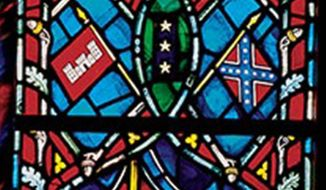 Stained glass windows show the Confederate flag at the National Cathedral.