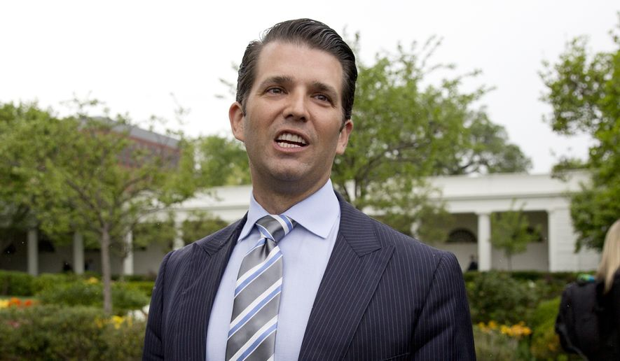 Donald Trump Jr., the son of President Donald Trump, speaks to media on the South Lawn of the White House in Washington on April 17, 2017. (Associated Press) **FILE**