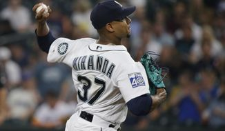 Seattle Mariners starting pitcher Ariel Miranda throws against the Houston Astros in the second inning of a baseball game, Tuesday, Sept. 5, 2017, in Seattle. (AP Photo/Ted S. Warren)