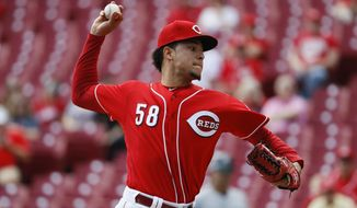 Cincinnati Reds starting pitcher Luis Castillo throws in the first inning of a baseball game against the Milwaukee Brewers, Wednesday, Sept. 6, 2017, in Cincinnati. (AP Photo/John Minchillo)
