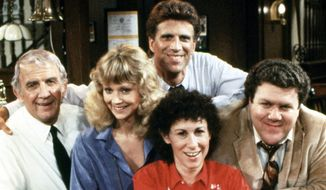 CHEERS, Nicholas Colasanto, Shelley Long, Ted Danson, Rhea Perlman, George Wendt, (Season 1), 1982-93 (Courtesy Paramount Home Entertainment)