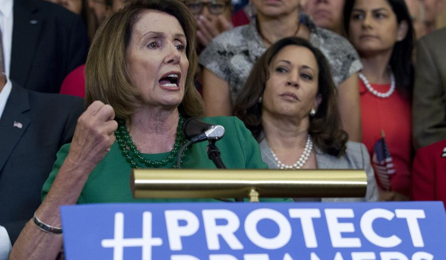 "House Minority Leader Nancy Pelosi, California Democrat, called President Trump's phaseout of Deferred Action for Childhood Arrivals ""brainless."" Hours later, she met with the president, who said he thinks he and Democrats can strike a deal so Dreamers facing the possibility of deportation ""don't have to worry about it anymore."" (Associated Press)"