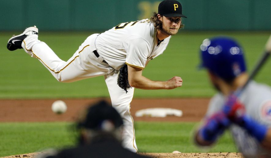 Pittsburgh Pirates starting pitcher Gerrit Cole delivers in the third inning of a baseball game against the Chicago Cubs in Pittsburgh, Wednesday, Sept. 6, 2017. (AP Photo/Gene J. Puskar)