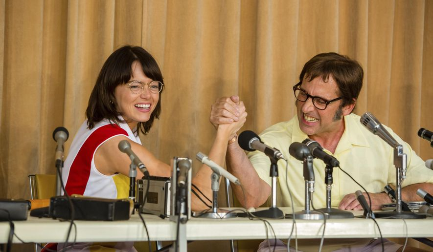 """FILE - This file image released by Fox Searchlight Pictures shows Emma Stone, left, and Steve Carell in a scene from """"Battle of the Sexes."""" """"The Battle of the Sexes,"""" is one of the anticipated films heading to Toronto International Film Festival starting Thursday, Sept. 7, 2017. (Melinda Sue Gordon/Fox Searchlight Pictures via AP, File)"""