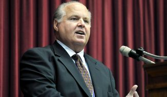 This May 14, 2012 file photo shows conservative commentator Rush Limbaugh speaking during a ceremony inducting him into the Hall of Famous Missourians in the state Capitol in Jefferson City, Mo. (AP Photo/Julie Smith, File)