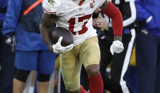 This photo taken Dec. 24, 2016, shows San Francisco 49ers wide receiver Jeremy Kerley (17) during the first half of an NFL football game against the Los Angeles Rams, in Los Angeles.   Kerley had his sights set on returning to the New York Jets the moment after he was cut by the San Francisco 49ers.  The veteran wide receiver got on his phone and immediately called Todd Bowles to tell the coach he wanted to come back. Then, Kerley started making calls and sending texts to anyone who'd listen to his desires for a reunion in green and white. (AP Photo/Rick Scuteri)