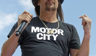 "FILE - In this Feb. 22, 2015 file photo, Kid Rock performs before the Daytona 500 NASCAR Sprint Cup series auto race at Daytona International Speedway in Daytona Beach, Fla. A civil rights organization said Wednesday, Sept. 6, 2017, they are demanding the cancellation of concerts by Kid Rock at a new sports arena in Detroit, saying his criticism of NFL quarterback Colin Kaepernick was a ""dog whistle"" to white supremacist groups. (AP Photo/Terry Renna, File)"