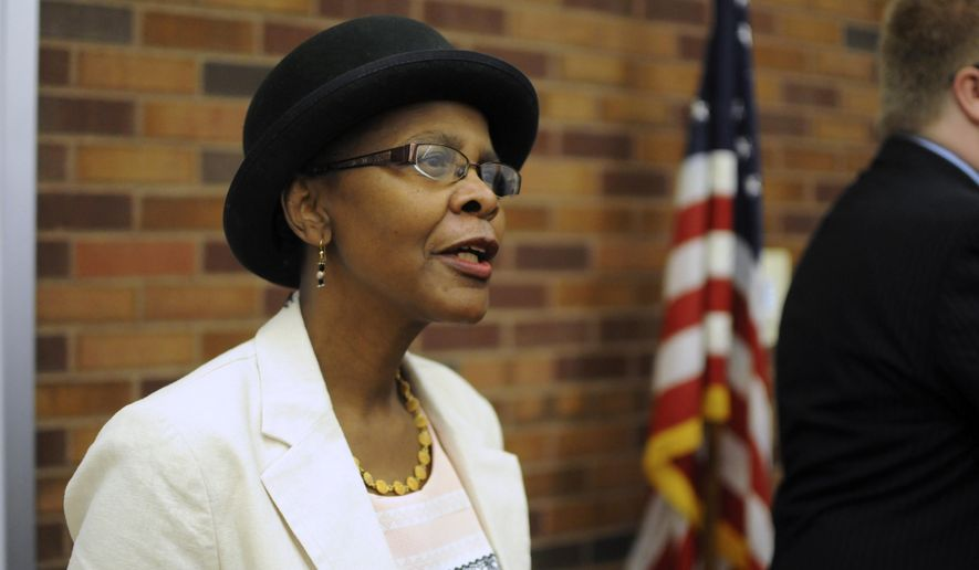 Sioux Falls City Council candidate Clara Hart speaks in Sioux Falls, S.D., Wednesday, Sept. 6, 2017. Hart is chairwoman of a group supporting a proposed ballot measure that would cap the amount state agencies could pay for prescription drugs. (AP Photo/James Nord)