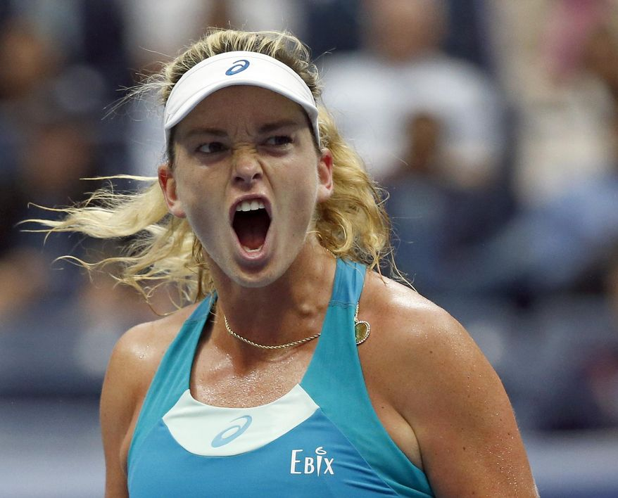 CoCo Vandeweghe, of the United States, shouts during her match with Karolina Pliskova, of Czech Republic, during the quarterfinals of the U.S. Open tennis tournament, Wednesday, Sept. 6, 2017, in New York. (AP Photo/Jason Decrow)
