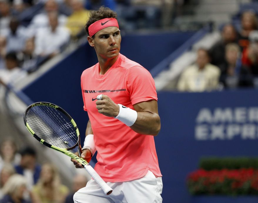 Rafael Nadal, of Spain, pumps his fist during his match with Andrey Rublev, of Russia, during the quarterfinals of the U.S. Open tennis tournament, Wednesday, Sept. 6, 2017, in New York. (AP Photo/Adam Hunger)