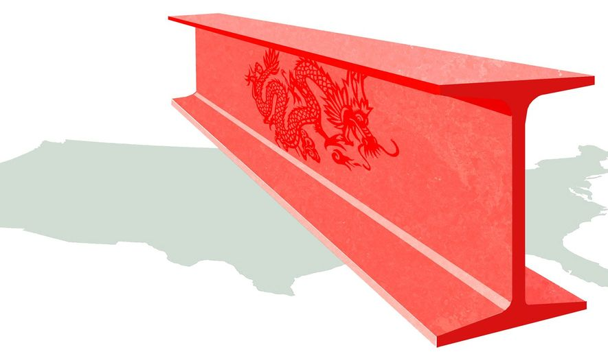 Illustration on the impact of Chinese steel by Alexander Hunter/The Washington Times