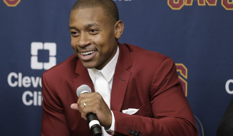 Cleveland Cavaliers' Isaiah Thomas smiles during a news conference at the teams practice facility, Thursday, Sept. 7, 2017, in Independence, Ohio. (AP Photo/Tony Dejak)