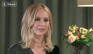 "American actress Jennifer Lawrence told British media on Wednesday that she's sickened by some of the events going on her own country, suggesting that the ""polarizing"" political climate has been exacerbated by Donald Trump's presidency. (Channel 4)"