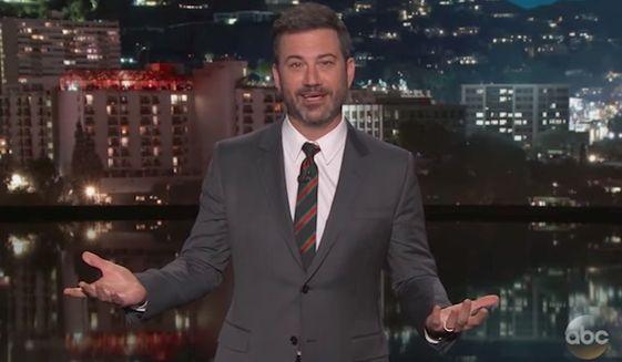 "Late-night host Jimmy Kimmel speaks on ABC's ""Jimmy Kimmel Live!"" Wednesday night, Sept. 6, 2017. (ABC)"