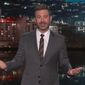 "Late-night host Jimmy Kimmel speaks on ABC's ""Jimmy Kimmel Live!"" Wednesday night, Sept. 6, 2017. (ABC)"