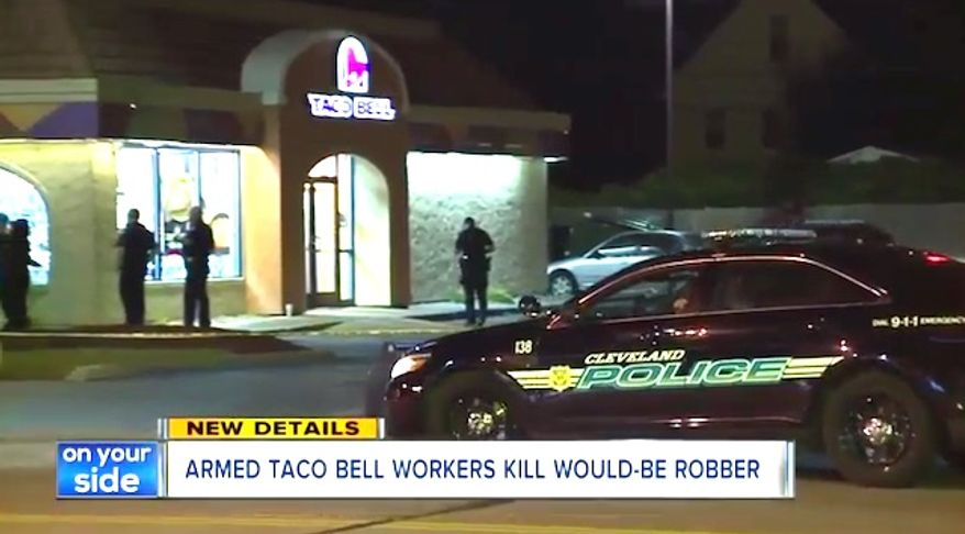 Three armed Taco Bell employees in Cleveland, Ohio, shot and killed an armed man during a robbery on Sept. 6, 2017. (Image: ABC-5 Cleveland screenshot)
