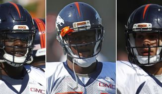 "FILE - These are 2017 file photos showing Denver Broncos NFL football safeties Jamal Carter, left, Will Parks, center, and Justin Simmons. The Denver Broncos secondary is still the ""No Fly Zone"" after the release of three-time Pro Bowl strong safety T.J. Ward, who signed with the Tampa Bay Buccaneers. The Broncos have a trio of young safeties ready to fill in for Ward. Second-year pro Justin Simmons will start and play more of a coverage role than Ward did. Will Parks, also in his second season, will play Ward's linebacker role in dime packages, and in Jamal Carter, the Broncos have an undrafted rookie from Miami who looks just like Ward, only bigger and younger.(AP Photo/Dave Zalubowski, File)"