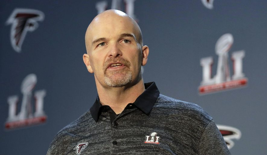 FILE - In this Thursday, Feb. 2, 2017, file photo, Atlanta Falcons head coach Dan Quinn answers a question during a media availability for the NFL Super Bowl 51 football game in Houston. Coming off an epic Super Bowl collapse, the Falcons are eying big things starting with their opener against the Chicago Bears on Sunday, Sept. 10. (AP Photo/Eric Gay, File)