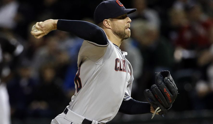Cleveland Indians starting pitcher Corey Kluber throws against the Chicago White Sox during the first inning of a baseball game Thursday, Sept. 7, 2017, in Chicago. (AP Photo/Nam Y. Huh)