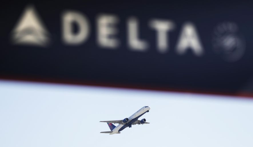 FILE - In this Jan. 30, 2017, file photo, a Delta Air Lines flight takes off from Hartsfield-Jackson Atlanta International Airport in Atlanta.  (AP Photo/David Goldman, File)