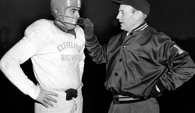 5. Paul Brown (1946-1975) was coach and executive in the All-America Football Conference and NFL. Brown was both the co-founder and first coach of the Cleveland Browns, a team named after him, and later played a role in founding the Cincinnati Bengals. His teams won seven league championships in a professional coaching career spanning 25 seasons. Brown became head coach of the Browns after World War II. He won all four AAFC championships before joining the NFL in 1950. Brown coached the Browns to three NFL championships  in 1950, 1954 and 1955  but was fired in January 1963 amid a power struggle with team owner Art Modell. Brown in 1968 co-founded and was the first coach of the Bengals. He retired from coaching in 1975 but remained the Bengals' team president until his death in 1991. The Bengals named their home stadium Paul Brown Stadium in honor of Brown. He was inducted into the Pro Football Hall of Fame in 1967. Brown is credited with a number of American football innovations. He was the first coach to use game film to scout opponents, hire a full-time staff of assistants, and test players on their knowledge of a playbook. He invented the modern face mask, the taxi squad and the draw play. He also played a role in breaking professional football's color barrier, bringing some of the first African-Americans to play pro football in the modern era onto his teams