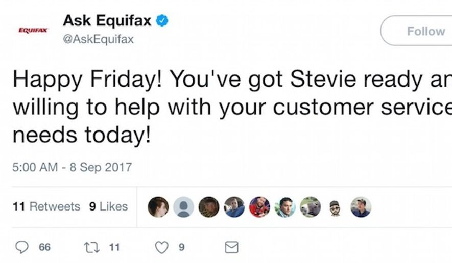 "The ""Ask Equifax"" Twitter account wished costumers a ""Happy Friday"" less than 24 hours after it was revealed that a data breach affected up to 143 million U.S. consumers. The message was deleted as negative feedback flooded in. (Image: Twitter, Ask Equifax, screenshot)"