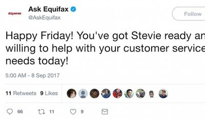 """The """"Ask Equifax"""" Twitter account wished costumers a """"Happy Friday"""" less than 24 hours after it was revealed that a data breach affected up to 143 million U.S. consumers. The message was deleted as negative feedback flooded in. (Image: Twitter, Ask Equifax, screenshot)"""