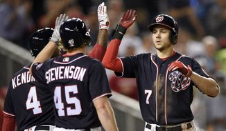 Washington Nationals' Trea Turner celebrates his two-run home run with Andrew Stevenson (45) and Howie Kendrick (4) during the sixth inning of a baseball game against the Philadelphia Phillies, Friday, Sept. 8, 2017, in Washington.(AP Photo/Nick Wass)