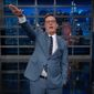 "Late-night comedian Stephen Colbert threw the Nazi salute several times while mocking President Trump Thursday night on ""The Late Show."" (CBS)"