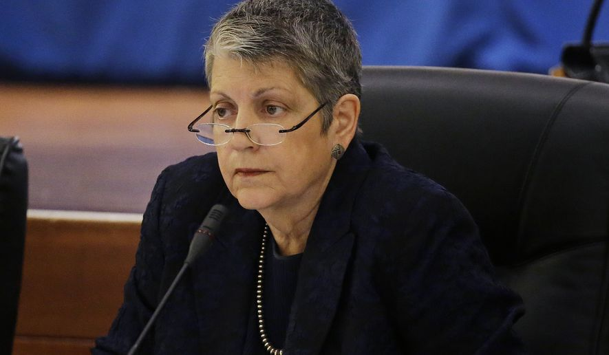 FILE - In this May 18, 2017 file photo University of California President Janet Napolitano listens during a meeting of the Board of Regents in San Francisco. The University of California has sued the Trump administration over its decision to end a program protecting hundreds of thousands of young immigrants from deportation. The lawsuit filed on Friday, Sept. 8 in federal court in San Francisco includes university president Napolitano as a plaintiff. (AP Photo/Eric Risberg, File)
