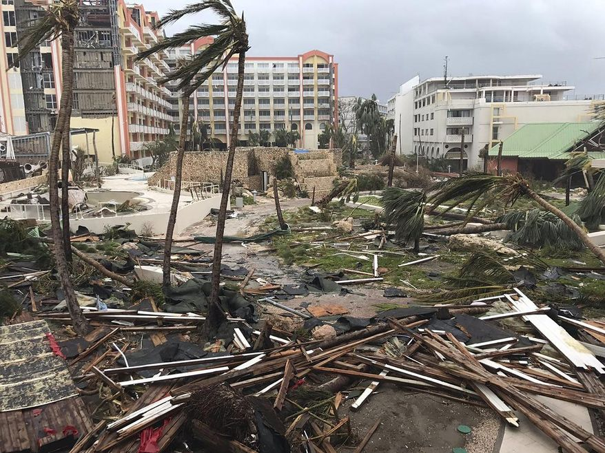 This Sept. 6, 2017, photo shows storm damage in the aftermath of Hurricane Irma in St. Martin. Irma cut a path of devastation across the northern Caribbean, leaving thousands homeless after destroying buildings and uprooting trees. Significant damage was reported on the island known as St. Martin in English which is divided between French Saint-Martin and Dutch Sint Maarten. (Jonathan Falwell via AP)
