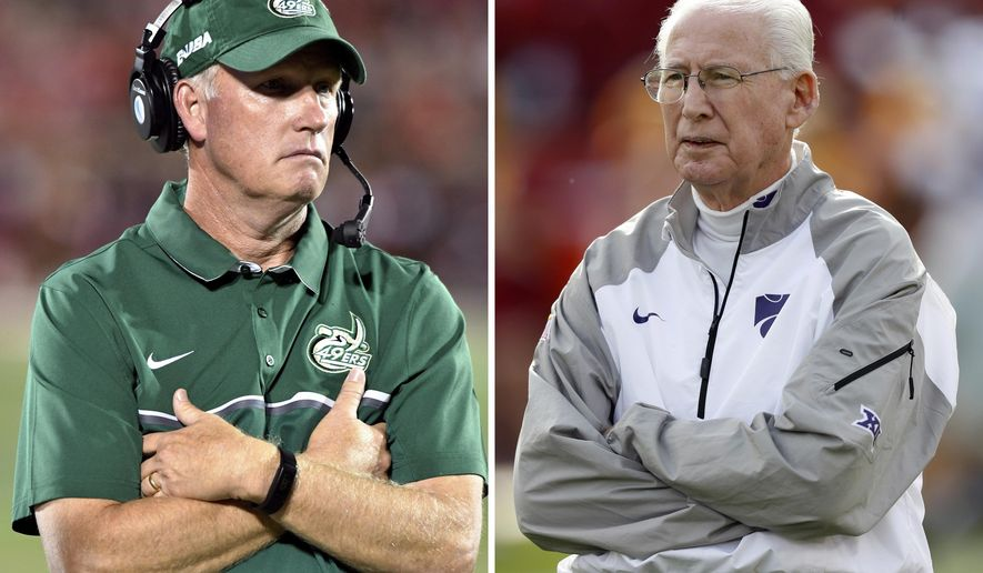 FILE - At left, in a Sept. 1, 2016, file photo, Charlotte coach Brad Lambert watches his team during the fourth quarter of an NCAA college football game against Louisville, in Louisville, Ky. At right, in an Oct. 26, 2016, file photo, Kansas State head coach Bill Snyder stands on the field before an NCAA college football game against Iowa State, in Ames, Iowa. Charlotte coach Lambert returns to Kansas State on the opposing sideline this Saturday, Sept. 9, 2017, when the 49ers face the No. 19 Wildcats. Lambert played for the Wildcats in the 1980s, before Snyder arrived to turn around the program. (AP Photo/File)