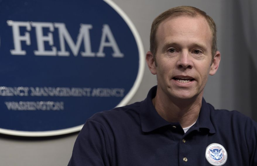 Federal Emergency Management Agency Administrator Brock Long speaks during a briefing on Hurricane Irma at FEMA headquarters in Washington, Friday, Sept. 8, 2017. (AP Photo/Susan Walsh) ** FILE **