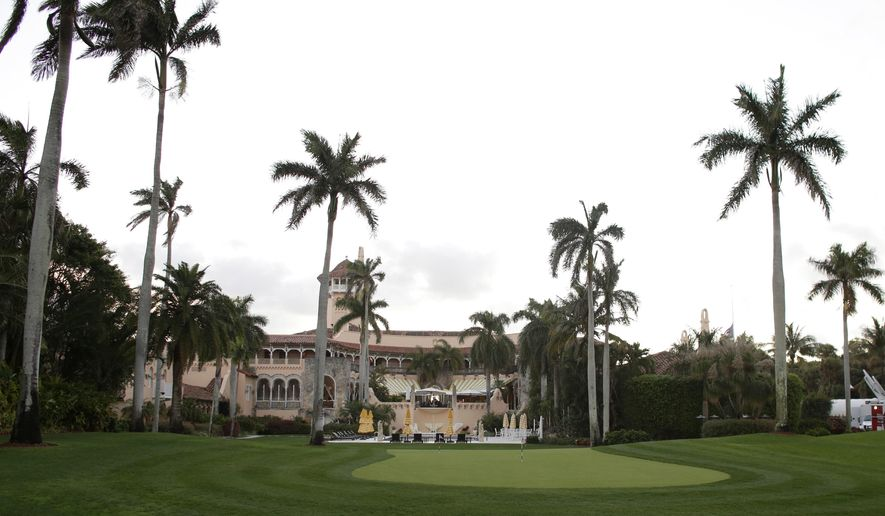 This Friday, March 11, 2016, file photo, shows the Mar-a-Lago Club, owned by Republican presidential candidate Donald Trump, in Palm Beach, Fla. Hurricane Irma is likely to test President Trump's longtime boast that his Mar-a-Lago mansion can withstand any storm. And if history is any guide, the smart money this weekend will be on the house. (AP Photo/Lynne Sladky)