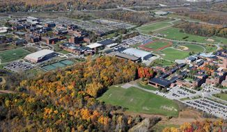 This October 2015 photo shows the campus of Rochester Institute of Technology in Rochester, N.Y. The western New York university has apologized after being criticized for a slide shown during a student orientation session that suggested masturbation as a deterrent to sexual assault. (Max Schulte/Democrat & Chronicle via AP)