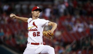 St. Louis Cardinals starting pitcher Luke Weaver throws during the first inning of a baseball game against the Pittsburgh Pirates, Friday, Sept. 8, 2017, in St. Louis. (AP Photo/Jeff Roberson)
