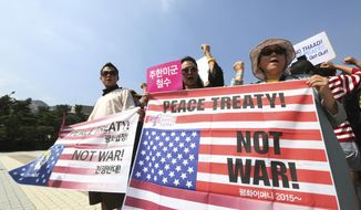Protesters shout slogans during a rally against the deployment of an advanced U.S. missile defense system called Terminal High-Altitude Area Defense, or THAAD, near the presidential Blue House in Seoul, South Korea, Friday, Sept. 8, 2017. Dozens of people were injured in clashes between South Korean protesters and police Thursday as the U.S. military added more launchers to the high-tech missile-defense system it installed in a southern town to better cope with North Korean threats. (AP Photo/Ahn Young-joon)