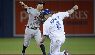 Detroit Tigers second baseman Ian Kinsler throws to first after forcing out Toronto Blue Jays' Kendrys Morales (8) to complete a triple play on a ball hit by Kevin Pillar during the sixth inning of a baseball game in Toronto on Friday, Sept. 8, 2017. (Nathan Denette/The Canadian Press via AP)