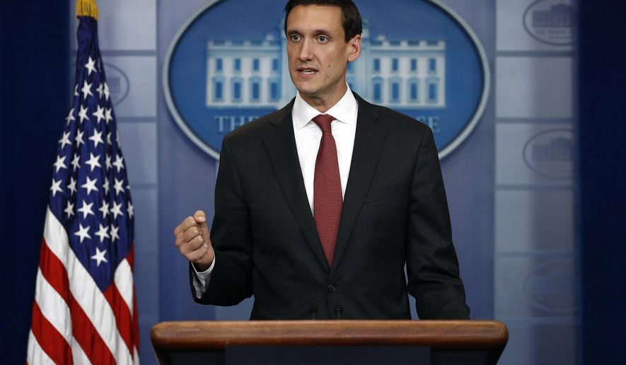 White House homeland security adviser Tom Bossert speaks during the daily news briefing at the White House, in Washington, Friday, Sept. 8, 2017. Bossert discussed Hurricane Irma and other topics. (AP Photo/Carolyn Kaster)