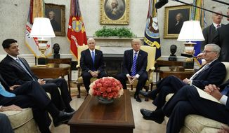 In this Sept. 6, 2017, photo, President Donald Trump pauses during a meeting with Congressional leaders in the Oval Office of the White House, Wednesday, Sept. 6, 2017, in Washington. From left, Speaker of the House Paul Ryan, R-Wis., Vice President Mike Pence, Trump, and Senate Majority Leader Mitch McConnell, R-Ky. The tortured relationship between Trump and Ryan has gone cool again, with the Republican president making clear he has no qualms about bucking the GOP leader to cut deals with his Democratic foes. (AP Photo/Evan Vucci)