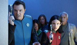 "Seth MacFarlane (left), Penny Johnson Jerald, Adrianne Palicki, Halston Sage and guest star Brian George appear in an episode of ""The Orville."" (Associated Press) ** FILE **"