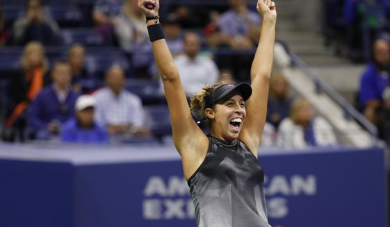 Madison Keys, of the United States, reacts after defeating CoCo Vandeweghe, of the United States, during the semifinals of the U.S. Open tennis tournament, Thursday, Sept. 7, 2017, in New York. (AP Photo/Adam Hunger)