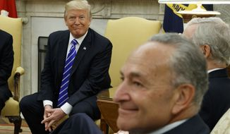 "Senate Minority Leader Charles E. Schumer (right) was able to ""speak New York"" to President Trump, paving the way for an agreement last week to increase government borrowing and speed relief money to the hurricane victims, according to House Minority Leader Nancy Pelosi, who attended the meetings. (Associated Press/File)"