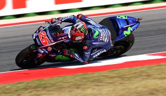 Spanish Rider Maverick Vinales rides his Yamaha during the second free practice session of the San Marino Moto GP grand prix at the Misano circuit, in Misano Adriatico, Italy, Friday, Sept. 8, 2017. (Fabrizio Petrangeli/ANSA via AP)
