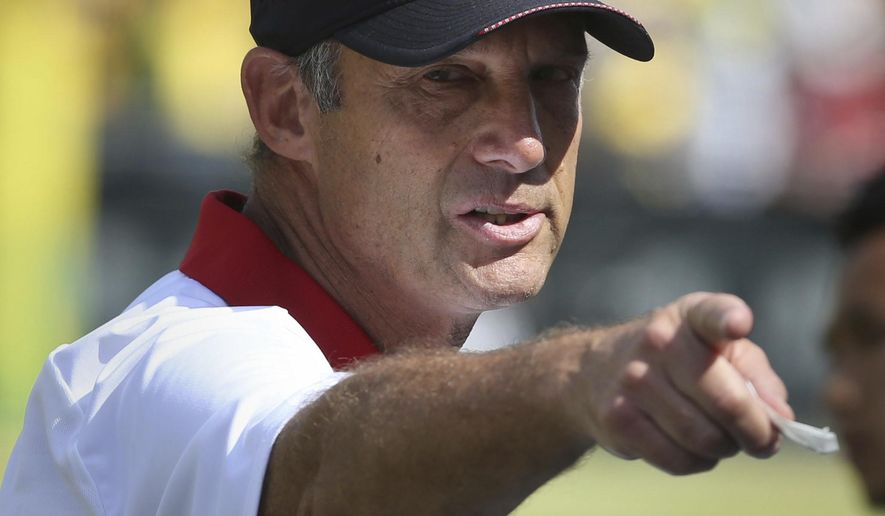 Nebraska head football coach Mike Riley gestures to his team during the first half of their game against Oregon in an NCAA college football game Saturday, Sept. 9, 2017, in Eugene, Ore. (AP Photo/Chris Pietsch)