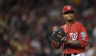 Washington Nationals starting pitcher Edwin Jackson walks toward the dugout after he was pulled from the game during the fourth inning of a baseball game against the Philadelphia Phillies, Saturday, Sept. 9, 2017, in Washington. (AP Photo/Nick Wass) **FILE**