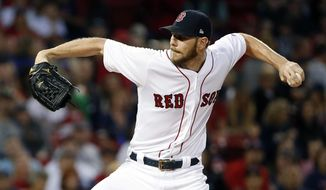 Boston Red Sox's Chris Sale pitches during the first inning of a baseball game against the Tampa Bay Rays in Boston, Saturday, Sept. 9, 2017. (AP Photo/Michael Dwyer)